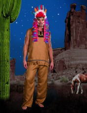 Mens Indian Fancy Dress Costume - Big Chief