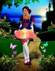 Womens Snow White Costume - Light Up Fairytale