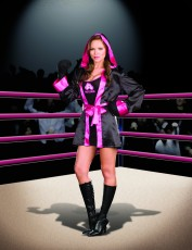 Womens Boxer Outfit - Pink With Black Costume