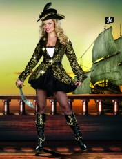 Womens Sexy Pirate Costume - Gold