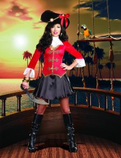 Womens Peter Pan Costume - Captain Hook Pirate Fairytale