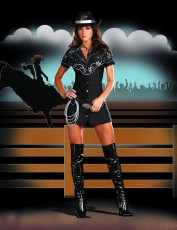 Womens Cowgirl Costume - Black Rhinestone