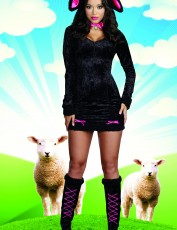 Womens Lamb Costume - Animal Black