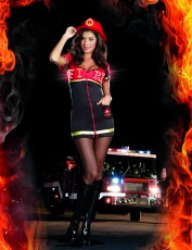 Womens Firewoman Costume - Burn Baby