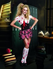 Womens Zombie Costume - Schoolgirl Scary