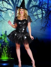 Womens Witch Outfit - Starry Night Witch (Plus Size)