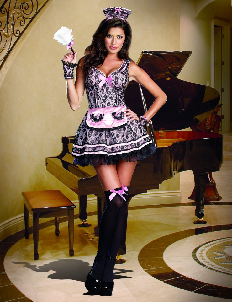 Womens French Maid Costume - Pink Maid by Dreamgirl