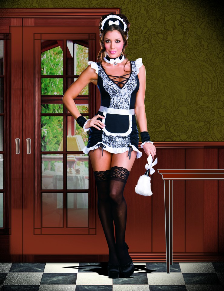 One piece cheap sexy domestic maid costume